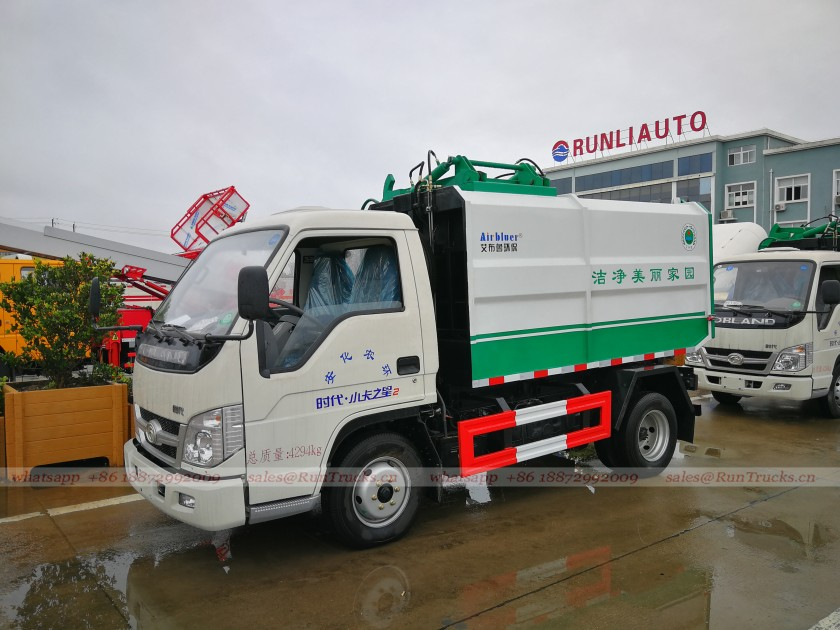 China Foton garbage truck with side hydraulic bucket lifting system  03.jpg