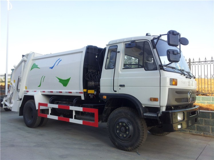 Dongfeng 145 8000 L compactor garbage truck white cab.jpg