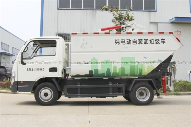 yuejin 41 horsepower 4X2 pure electric self loading and unloading garbage truck06.jpg