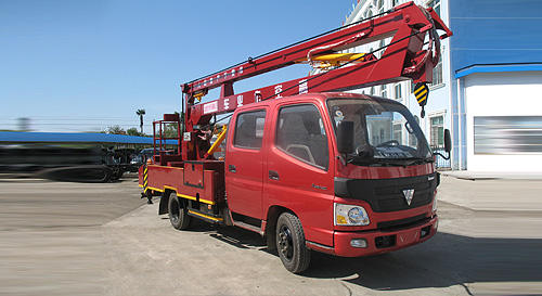 Foton Truck Mounted 16m Aerial Work Platform all red color