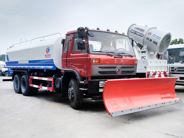 China dongfeng water truck with 3.3m snow pusher shovel