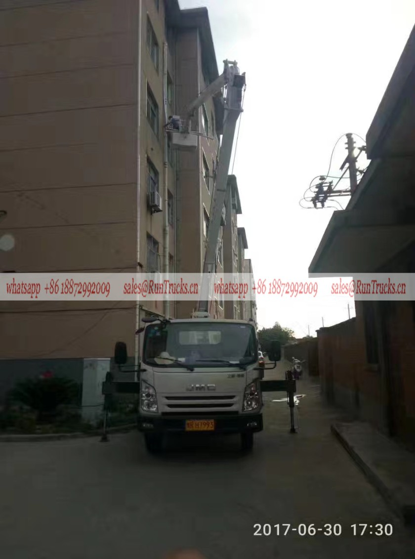 JMC 28m aerial work truck assisting for the building enginering painting Pipeline Maintenance.jpg