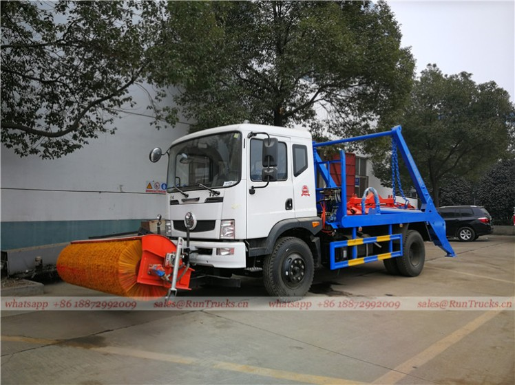China dongfeng swim arm garbage truck with snow roll broom 01.jpg