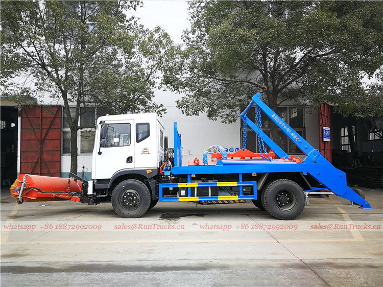 China dongfeng swim arm garbage truck with snow roll broom 02.jpg