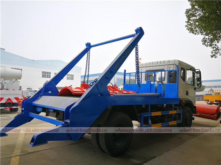 China dongfeng swim arm garbage truck with snow roll broom 05.jpg