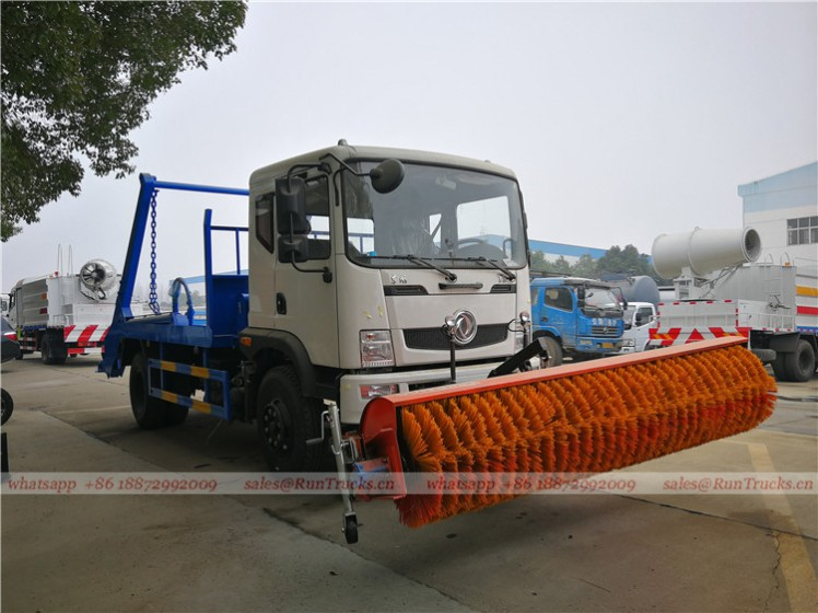 China dongfeng swim arm garbage truck with snow roll broom 06.jpg