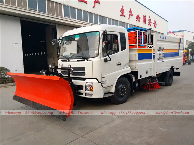 Dongfeng tianjin road sweeper truck with snow shovel and aerial working platform 01