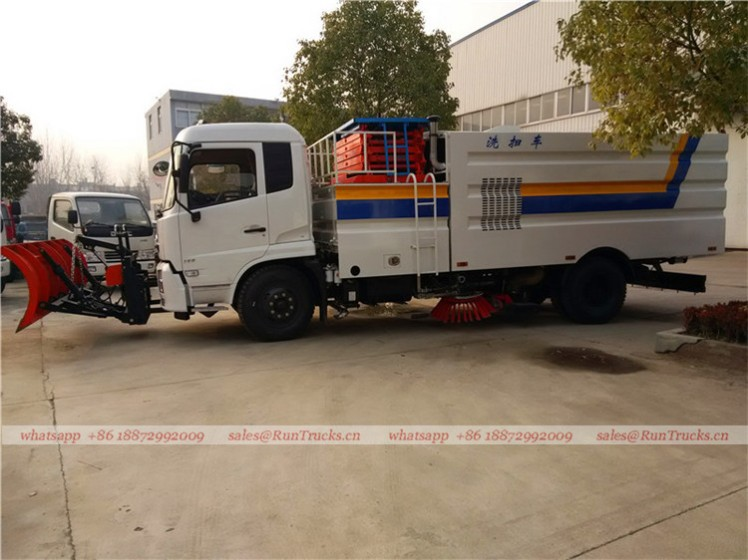 Dongfeng tianjin road sweeper truck with snow shovel and aerial working platform 02