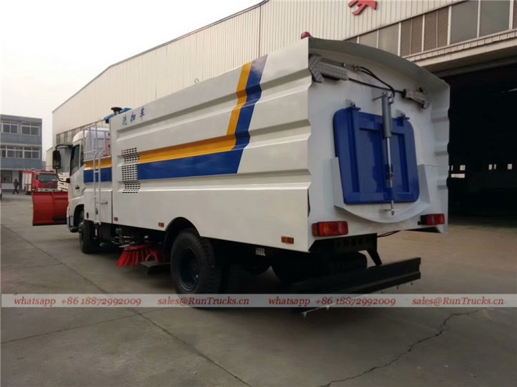 Dongfeng tianjin road sweeper truck with snow shovel and aerial working platform 03