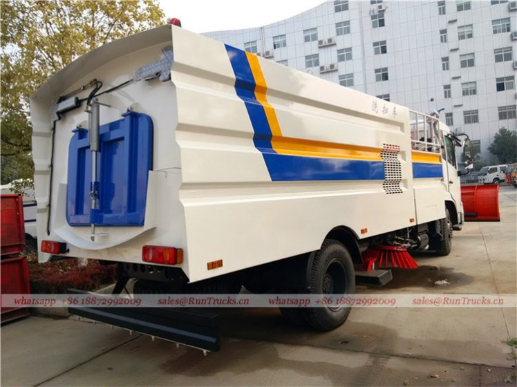Dongfeng tianjin road sweeper truck with snow shovel and aerial working platform 05
