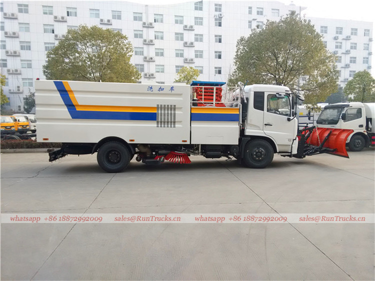 Dongfeng tianjin road sweeper truck with snow shovel and aerial working platform 06