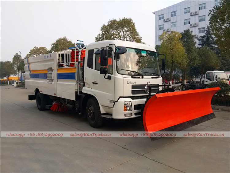 Dongfeng tianjin road sweeper truck with snow shovel and aerial working platform 07