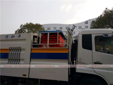 Dongfeng tianjin road sweeper truck with snow shovel and aerial working platform 09