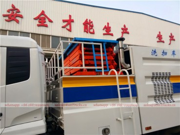 Dongfeng tianjin road sweeper truck with snow shovel and aerial working platform 11