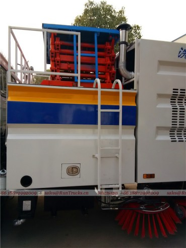 Dongfeng tianjin road sweeper truck with snow shovel and aerial working platform 12