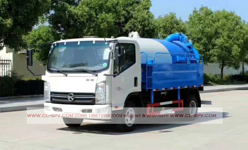 kaima 3000 liters sewage suction truck with cleaning function 05