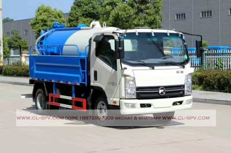 kaima 3000 liters sewage suction truck with cleaning function 06