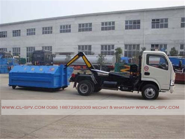 Dongfeng 4000 liters hook arm garbage truck07