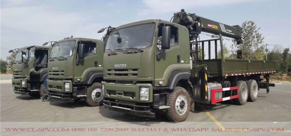 Isuzu 3 axles truck with SANY Palfinger crane
